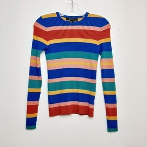Rainbow Striped Ribbed Knit Sweater Long Sleeve M